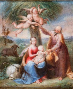 Tommaso Minardi, Rest on the Flight into Egypt, early 19th, oil on paper