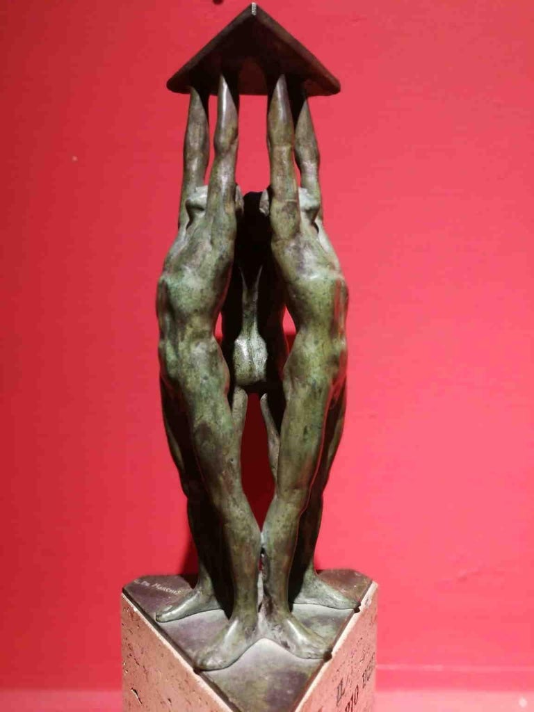 Giandomenico De Marchis, Athletes, 1930ies, bronze and travertine, signed For Sale 12
