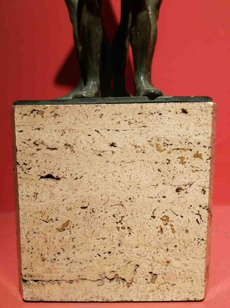 Giandomenico De Marchis, Athletes, 1930ies, bronze and travertine, signed For Sale 8