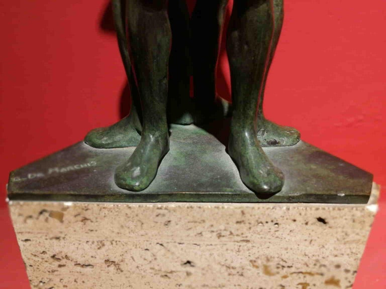 Giandomenico De Marchis, Athletes, 1930ies, bronze and travertine, signed For Sale 10