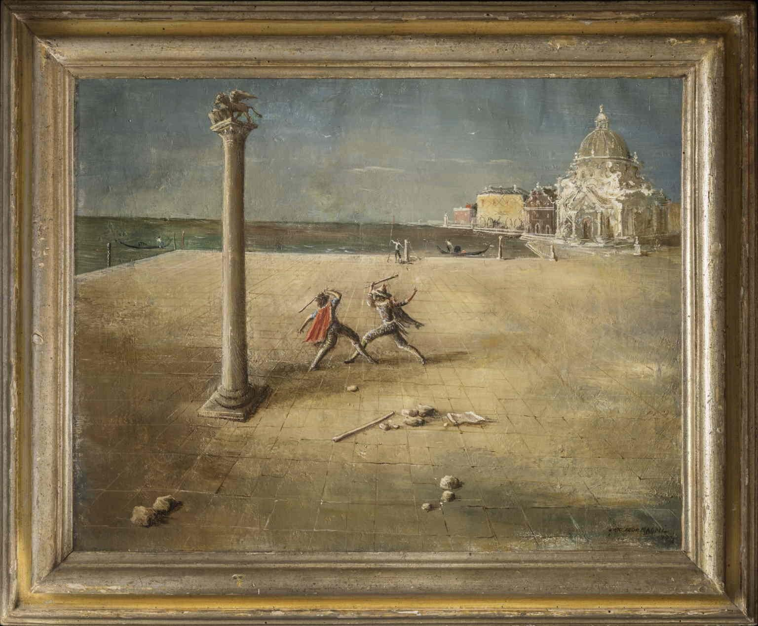 Riccardo Magni Harlequin duel Venice 1932 oil canvas signed dated