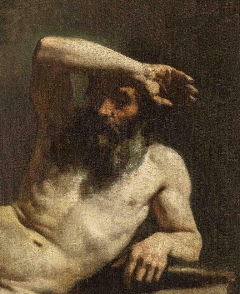 MICHELE CAMMARANO, Male Nude, 1860 ca, Oil on canvas - Black Portrait Painting by Michele Cammarano
