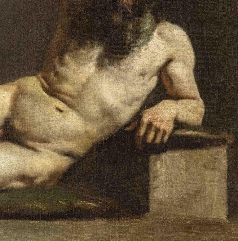 MICHELE CAMMARANO, Male Nude, 1860 ca, Oil on canvas For Sale 1