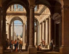 Codazzi Gargiulo Landscape Interior Architectural Painting 1630 1640 oil canvas