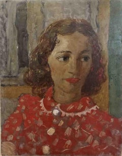 Gianni Vagnetti Lady in Red Portrait Painting 20 century oil canvas,