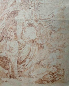 After Cavalier d'Arpino, Tobias and the angel, 17th, sanguine on paper