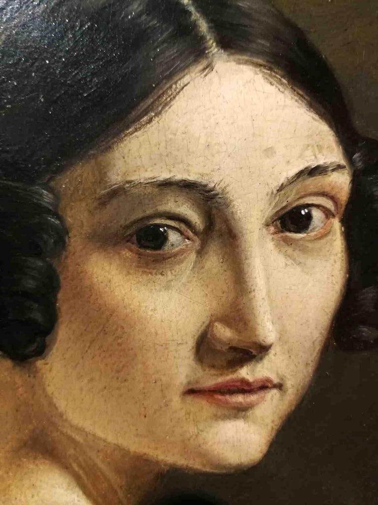 Eliseo Sala, Portrait of a lady from Lombardy, 1840s, oil on wood - Other Art Style Painting by Eliseo Sala