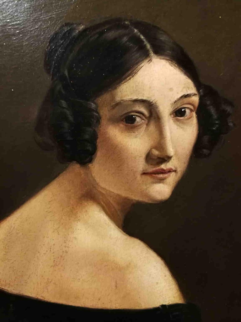 Eliseo Sala, Portrait of a lady from Lombardy, 1840s, oil on wood For Sale 3