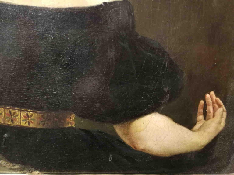 Eliseo Sala, Portrait of a lady from Lombardy, 1840s, oil on wood For Sale 1