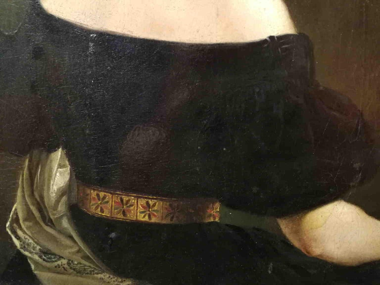 The lady seems to be portrayed in a moment of surprise, immortalised from behind to emphasize on the neckline. It can be ascribe to Eliseo Sala, one of the most talented painter in Milan in the half of the 19th century. It can be dated to the 40ies