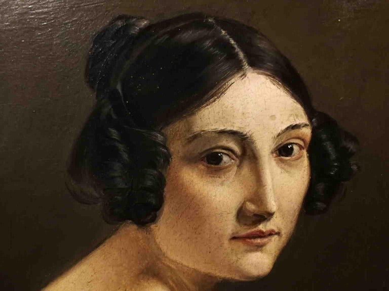 Eliseo Sala, Portrait of a lady from Lombardy, 1840s, oil on wood For Sale 2