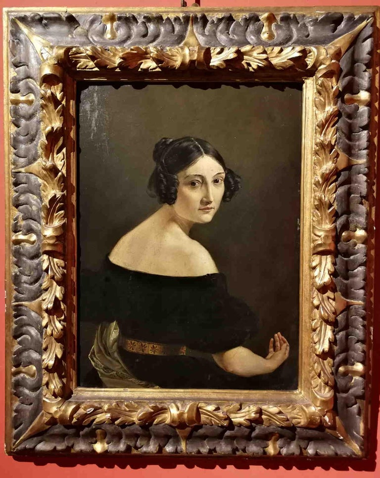 Eliseo Sala, Portrait of a lady from Lombardy, 1840s, oil on wood - Painting by Eliseo Sala