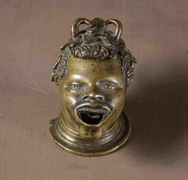 After Andrea Briosco Riccio Figurative Satyr bronze oil lamp 16 century - Mannerist Sculpture by Andrea Briosco called Riccio