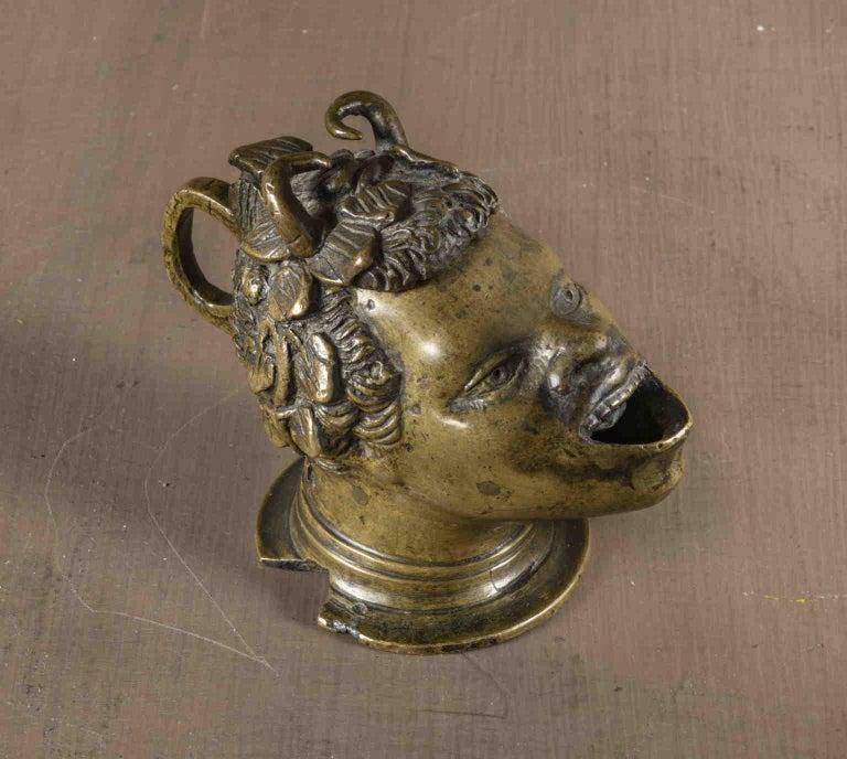 After Andrea Briosco Riccio Figurative Satyr bronze oil lamp 16 century - Sculpture by Andrea Briosco called Riccio