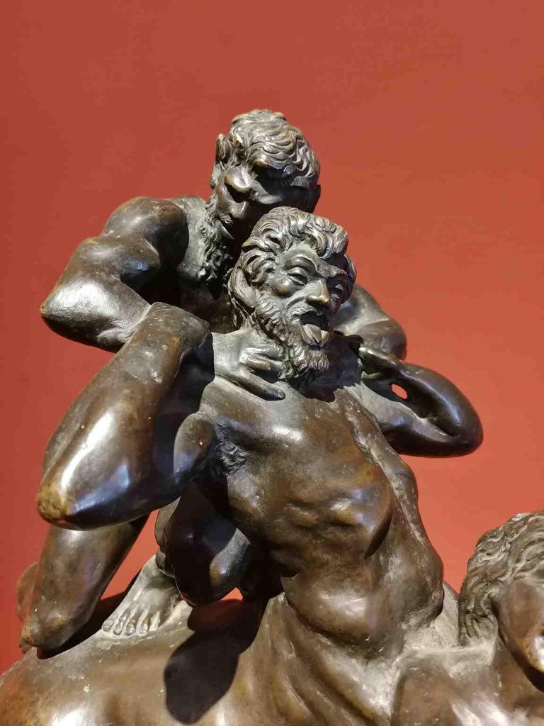 This bronze represent the moment when the half-god and hero Hercules kills the centaur Nessus after that he tried to rape Deianeira. The composition is chracterized by an intense pathos, as we can see in the strenght of the gesture of the two