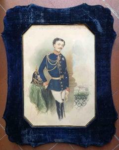 Signed Zontani Charles III Duke of Parma Portrait watercolor paper velvet