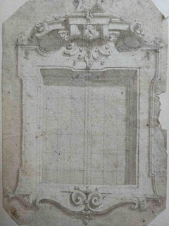 Lombardy artist, study on a Baroque Window, 18th, pencil on paper