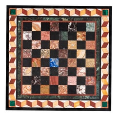 Chessboard, 19 century, marble and precious stone in Commesso technique