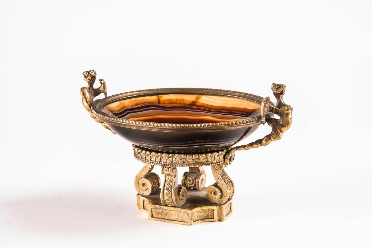 Neoclassical Imperial Gilded Bronze Carnelian Salt cellar 19 century