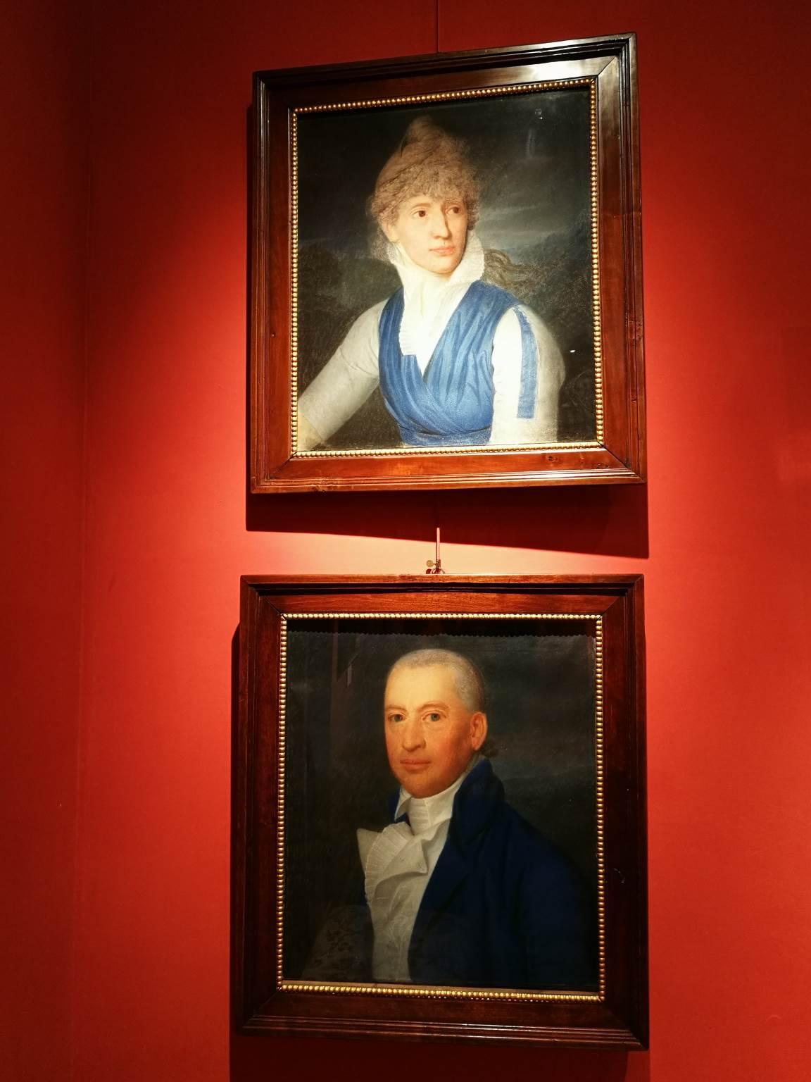Attributed J S Copley Two Nobles Portrait Paintings 18 century pastel parchment