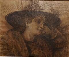 Camillo Innocenti, Potrait of a lady, 1920s-1930s, pencil on paper, signed