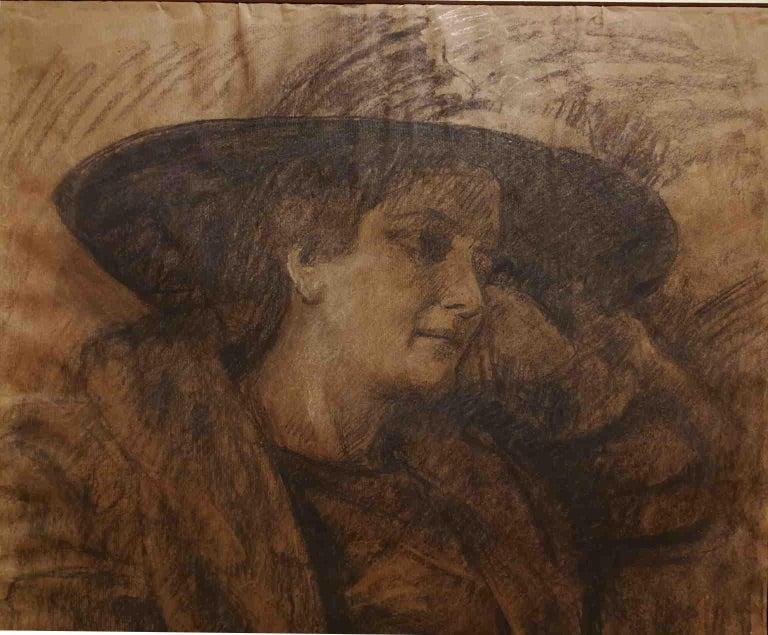 Signed Camillo Innocenti Female Portrait Drawing 1920s-1930s pencil paper - Art by Camillo Innocenti