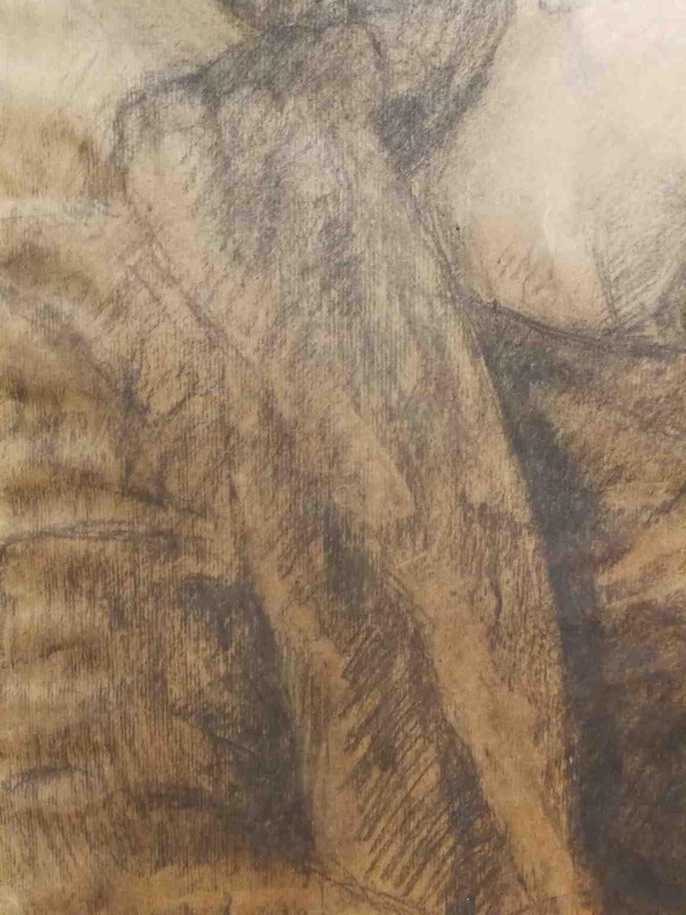 Signed Camillo Innocenti Female Portrait Drawing 1920s-1930s pencil paper For Sale 2