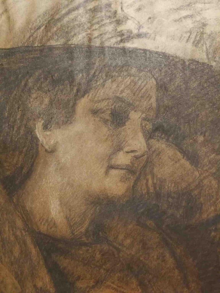 This drawing, carbon and white chalk on paper 77 x 55 cm, is signed on the bottom right Camillo Innocenti. Who's an Italian artist from Rome. After he studied in Lyceum, after 1889 he joined the studios of Antonio Mancini in Rome and Domenico