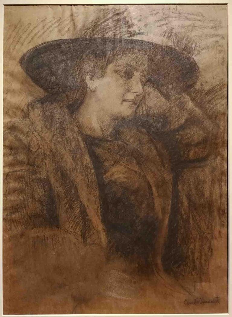 Signed Camillo Innocenti Female Portrait Drawing 1920s-1930s pencil paper - Other Art Style Art by Camillo Innocenti