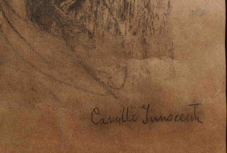 Signed Camillo Innocenti Female Portrait Drawing 1920s-1930s pencil paper For Sale 4