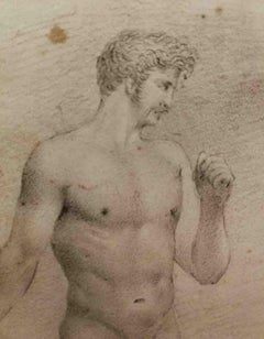 Florentine Artist, Male Nude Accademia, early 19th, pencil on paper