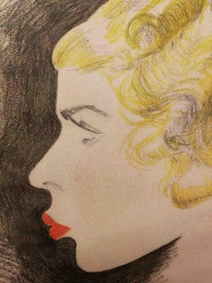Monogrammist IEX, Portrait of a Lady, 1934, pencil on paper, signed and dated
