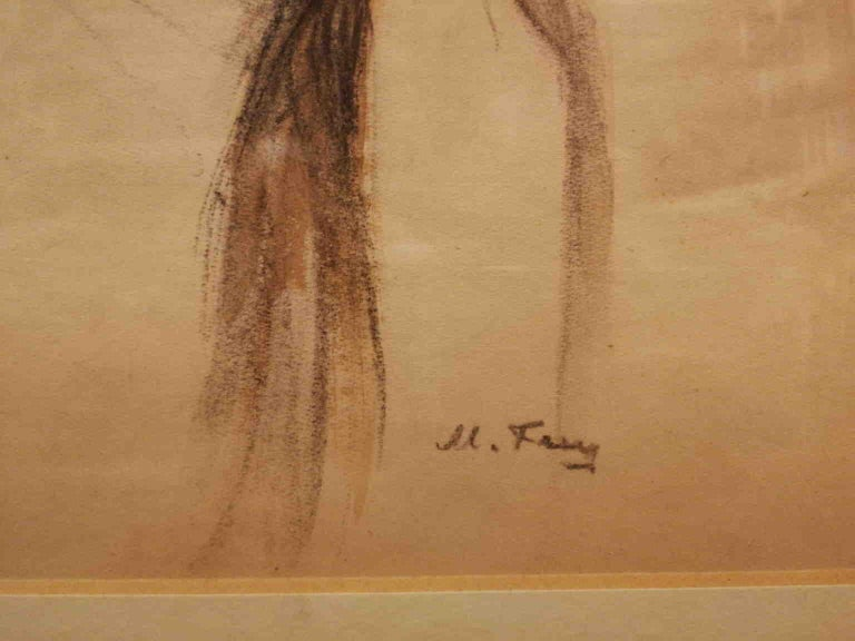 M. Frey Surbek,Mother and Daughter,early 20th,mixed technique on paper,signed For Sale 4