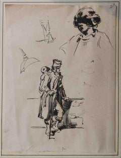 Attributed H Bellangé Figurative Drawing 19 century ink paper