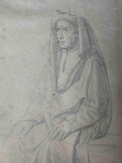 Attributed Cristiano Banti Historical Portrait Drawing 19 century