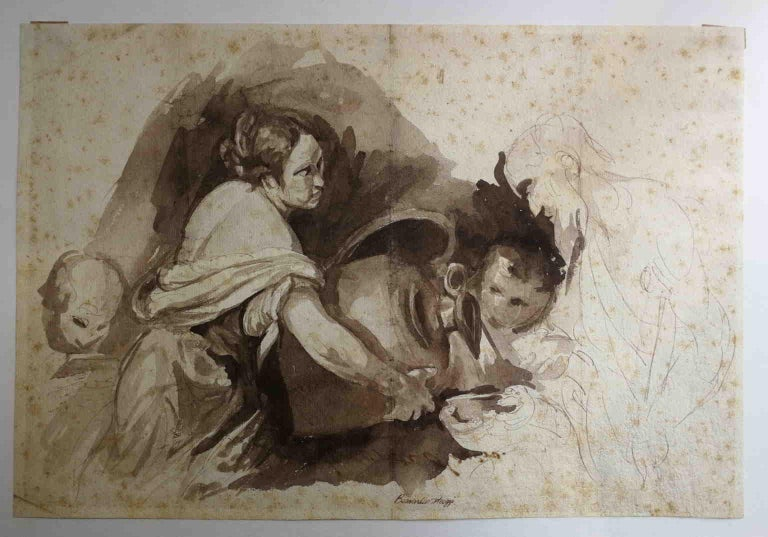 Unknown Figurative Art - After Bernardo Strozzi, Second Work of Mercy, 18th, bistre on paper