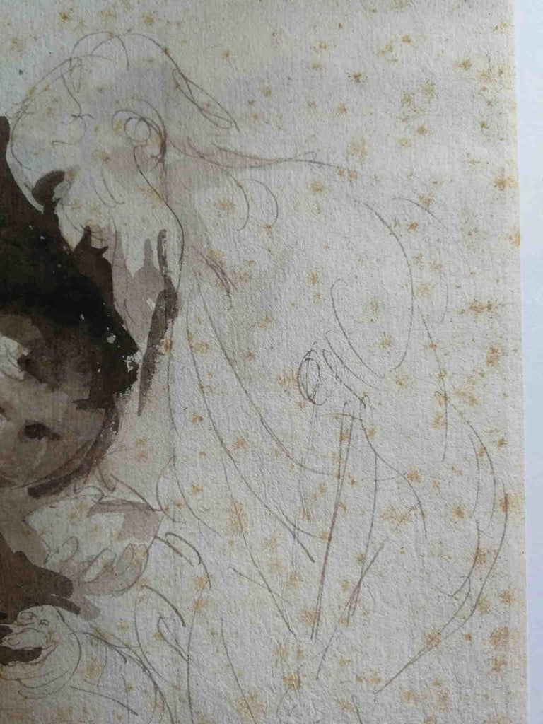 After Bernardo Strozzi, Second Work of Mercy, 18th, bistre on paper - Gray Figurative Art by Unknown