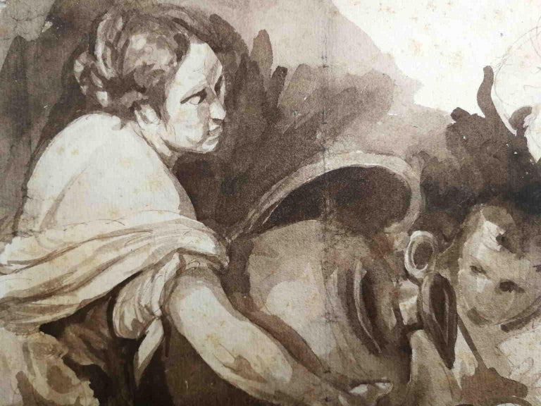 After Bernardo Strozzi, Second Work of Mercy, 18th, bistre on paper For Sale 1