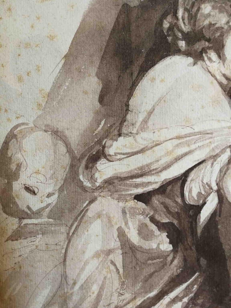 After Bernardo Strozzi, Second Work of Mercy, 18th, bistre on paper For Sale 2