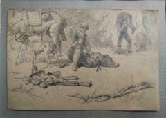Andrea Markò, Hunting scene, half 19th, pencil on paper, signed and dedicated