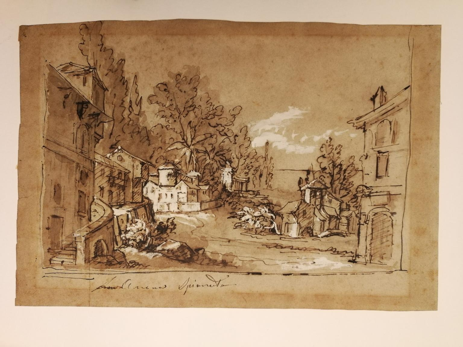 Veneto School, Landscape, end of 18th, ink wash and white lead on paper, signed