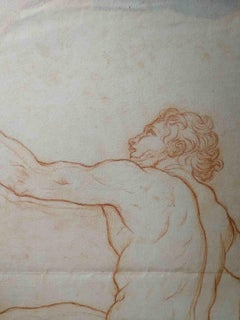 Bernardino Orsetti (attr.), Study on a man, early 19th, sanguine on paper