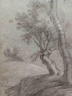 Gaspard Dughet (attr.), Trees, 17th, pencil and white lead on paper