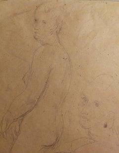 Signed Ugo Capocchini Female Nude Portrait Drawing 1930s pencil paper