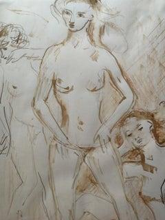 Bruno Innocenti Female Nude Portrait Drawing ink pencils paper 20th century
