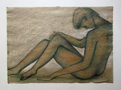 Signed Bruno Innocenti Female Nude Portrait Drawing dated 1978 ink chalk paper
