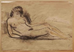 Signed Female Nude Portrait Drawing 20 century pencil paper