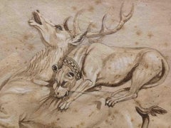 Italian Artist, Hunting Scene, 19th, pencil, ink and watercolor on paper