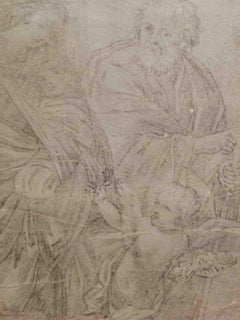 After Guido Reni Religious Figurative Drawing 19 century pencil laid paper