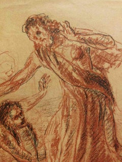 Signed A Boninsegni Religious Figurative Drawing dated 1945 pencil paper